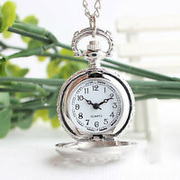 Luxury Retro Small Spider Web Quartz Necklace Pendant Fob Pocket Watch Gift