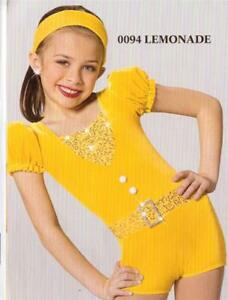 Dance Costume  Jazz Tap romper  Pageant yellow lemonade