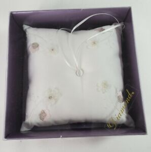 Ring Bearer Cushion Pillow Wedding White Satin Crystal Pearl Floral Pink NEW Box