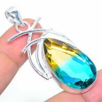 "Bi-Color Tourmaline Handmade Ethnic Style Jewelry Pendant 2.17"" R-VJ-7616"