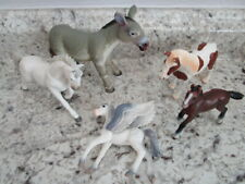Lot of 5 Plastic Horses, Donkey Mule & Pegasus Schleich Terra