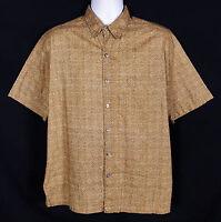 Tori Richard Hawaiian Shirt Mens M Short Sleeve Button Front Brown Cotton Lawn