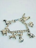 Estate Vintage Sterling Silver Dog Charms Charm Bracelet