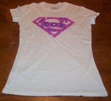 WOMEN'S TEEN DC COMICS SUPER GIRL PINK T-shirt SMALL NEW WONDER WOMAN SUPERMAN