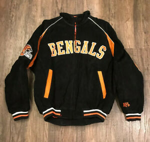 VTG NFL Cincinnati Bengals NFL Team Apparel Suede Varsity Jacket Coat Large