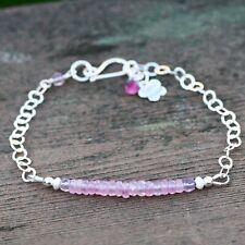 Natural Pink Sapphire Charm Bracelet Flower Solid Sterling Silver 925, September