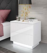 Kommode Nachttisch LED Nachtkommode Nachtschrank Nachtkonsole Hochglanz Weiß