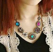 STATEMENT MULTI-COLOUR MULTI-ELEMENT DIAMANTE CRYSTAL COLLAR CHOKER NECKLACE