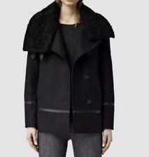 Allsaints Okito Pea Coat.uk 6(fits 8).Ink Blue.£358.Real Shearling Collar