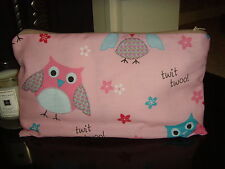 NEW HANDMADE PINK OWL  COTTON  PRINT /  FABRIC PURSE 28cm x 16cm