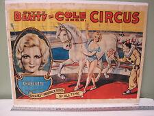 Original 1965 Clyde Beatty Cole Bros Circus Poster Greatest Bareback Rider