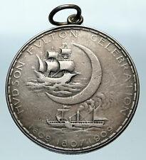 1909 USA United States TIFFANY & CO Hudson Fulton SHIPS Silver OLD Medal i84372