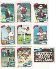 Vintage 1980 TOPPS Major League Baseball cartes – California Angels – Mlb