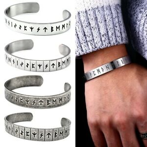 Men's Stainless Steel Viking Rune Bangle Norse Cuff Vintage Bracelet