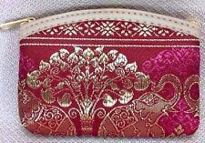 Thai silk Purse Red Art Clutch Elephant Bag Coins Handbag Wallet Wemen Zip Card