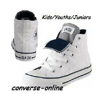 KIDS Boys Girls CONVERSE All Star WHITE DOUBLE TONGUE HI TOP Trainers SIZE UK 11