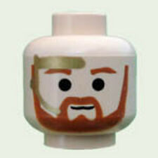 LEGO STAR WARS - Minifig, Head Beard w/ Brown Trim Beard & Gold Headset Pattern