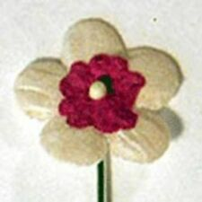 100 BURGUNDY & WHITE FLOWERS FOR CARDS OR CRAFTS