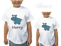 PERSONALISED HIPPO BOYS GIRLS DESIGNER T-SHIRT TSHIRT KIDS CHILDRENS AGE 1-12