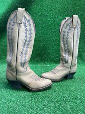 Rare size 7 Vtg 80's cream leather Abilene western cowboy boots Fast Shippin