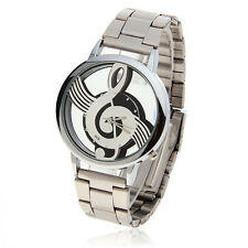 Hot Men's Geneva Fashion Note Music Notation Stainless Steel Quartz Wrist Watch