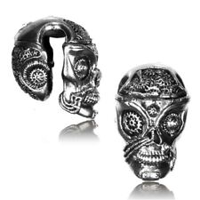 SKULL 1/2 INCH TRIBAL WHITE BRASS EAR WEIGHTS PLUGS TUNNELS STRETCH GAUGE PLUG