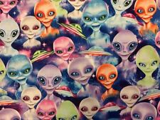 FT136 Alien UFO Spaceship Galaxy Outer Space Area 51 Cotton Quilt Fabric