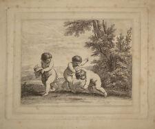 Stampa antica bambini giocano children play bartolozzi engraving gravure putti