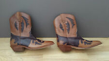 Ladies Western Leather Cowgirl Boots -Ankle Height Sz8B Brwn/dark Brwn  pristine