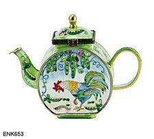 KELVIN CHEN Enamel Mini Miniature Copper  Handpaint Teapot -  Rooster & Worm
