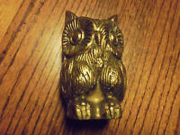"VINTAGE SOLID BRASS OWL.......4 1/2"" TALL....DETAILED.......B-79"