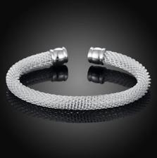 Cuff Open Bangle Charm Bracelet #Br428 Womens 925 Sterling Silver Mesh Net
