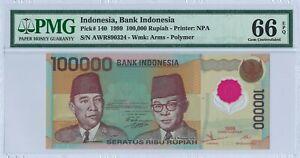 Indonesia 100.000 Rupiah P140 1999 PMG 66 EPQ s/n AWR890324 Polymer