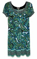 London Style, Multi-Color Geometric Print Pull-on Stretch Dress, size 16