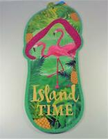 NAUTICAL ISLAND TIME FLIP FLOP FLAMINGOS BEACH PARTY DECORATIVE BEACH WALL SIGN
