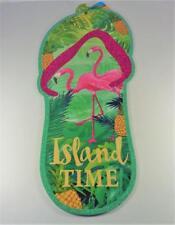 NAUTICAL ISLAND TIME FLIP FLOP FLAMINGOS BEACH PARTY DECORATIVE BEACH WALL SIGN