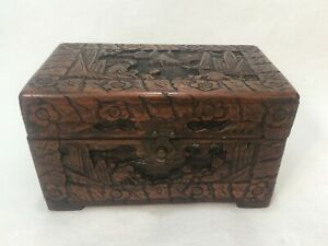 """Vintage Chinese Handcarved Wooden Trinket Chest Box, 9 3/4"""" x 5 1/2"""" x 5 1/2"""" H"""