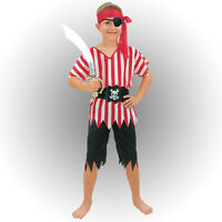 #CHILD PIRATE BOY COSTUME STRIPES BOOK WEEK FANCY DRESS HALLOWEEN OUTFIT