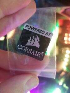 Powered By Corsair Sticker PC Badge Metal, Weighted, New in Bag