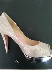 """SKIN """" The Darby """" peep toe,stiletto shoes,cream with gold stripe"""