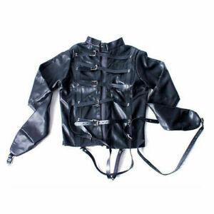 White Asylum Straight Jacket Costume S/M L/XL BODY HARNESS Restraint Armbinder v