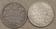 Canada 1880-H + 82-H 5 Cents Silver Low Grade As Pictured