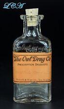 Old OWL DRUG bottle w/LABEL - 7th & Hope Street - LOS ANGELES - Menthol Crystal