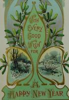 With Every Good Wish For A Happy New Year Unposted Divided Back Vintage Postcard