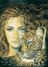 1x Printed Tapestry Thread Canvas Head of a Girl Leopard Sewing Craft Tool Art