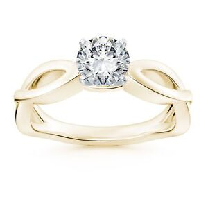 Infinity Style 1CT Round Diamond Solitaire Engagement Ring 9K Yellow Gold Over