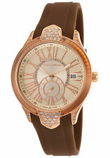 Ted Lapidus Swiss Made Women's Crystal Brown Silicone Champagne Dial $375 List