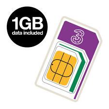 Trois 1 Go carte sim. Standard/Micro/Nano Multi SIM. Pour tous les 3 G et périphériques 4 G