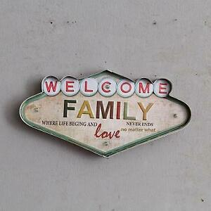 Retro Hang Sign Led Light Welcome Family Love Art Home Store Decor Wall Cave Tin
