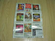 VIRGIN GAMES AUTUMN - WINTER 1990 SOFTWARE RELEASES PROMO POSTER / LEAFLET